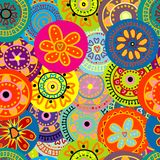 Floral seamless background. Floral colorful seamless background with doodle flowers Royalty Free Stock Images