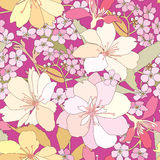 Floral seamless background. Flower spring pattern. Stock Photo