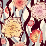 Floral seamless background. gentle flower roses pattern. Stock Images