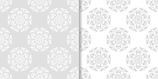 Floral seamless background. Gray and white abstract print Royalty Free Stock Images