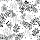 Floral seamless background with handmade calligraphy and text Hello. Vector illustration. Royalty Free Stock Image
