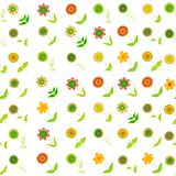 Floral seamless background with oblique rows of doodle flowers royalty free illustration
