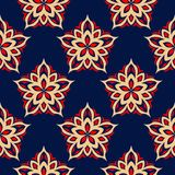 Floral seamless background. Red and beige flower elements on blue background. For wallpapers, textile and fabrics Royalty Free Stock Photo
