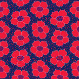 Floral seamless background. Red flower pattern. Royalty Free Stock Photography