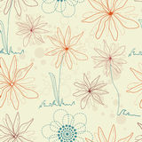 Floral seamless background in retro colors Stock Image