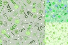 Floral seamless background set Stock Photos