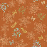 Floral seamless background in vector. Floral seamless backgrounds for design of fabrics and wallpapers Royalty Free Stock Images