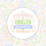 Floral seamless background and vintage typography Stock Images