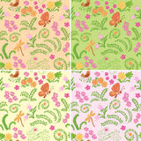 Floral seamless vector backgrounds with nature elements - set Stock Photo