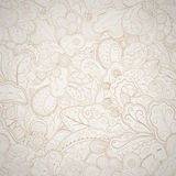 Floral seamless beige abstract hand-drawn card. Stock Image