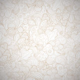 Floral seamless beige abstract hand-drawn card. Stock Images