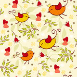 Floral seamless with birds. Stock Image