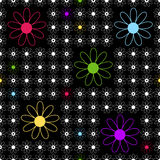 Floral seamless black background. With white, pink, yellow, lilas and blue flower (vector stock illustration