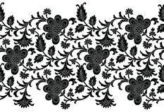 Floral seamless black and white border for lace. And textile fabrics Stock Image