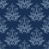 Floral seamless blue paisley pattern Stock Images