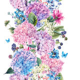 Floral seamless border with Hydrangea Stock Images