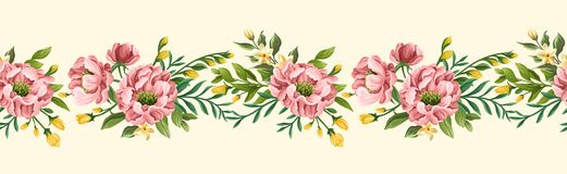 Floral seamless border with peonies and sweet peas. Beautiful floral seamless border with peonies and sweet peas on beige background. Great for post cards and royalty free illustration