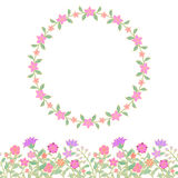 Floral seamless border and round frame Royalty Free Stock Photo