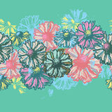 Floral seamless border in turquoise tones Royalty Free Stock Photos