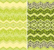 Floral  seamless border zigzag  decor Stock Images