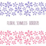 Floral seamless borders, blue and pink flowers. Beautiful pastel frame for cards or wedding invitations