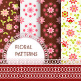 Floral seamless and borders. Set Stock Image