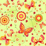 Floral seamless with butterfly. Royalty Free Stock Images