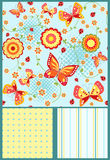 Floral seamless with butterfly. Stock Photo