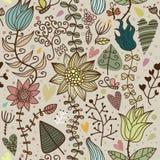Floral seamless cartoon pattern Royalty Free Stock Photos