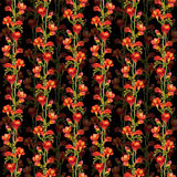 Floral seamless contrast pattern with red freesias flowers on black background royalty free illustration