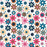 Floral seamless cute pattern simple design. Primitive flowers seamless ornament. Bright flowers om beige background Royalty Free Stock Photos