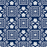 Floral seamless in damask style design pattern navy background Stock Photography
