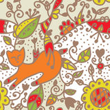 Floral seamless ethnic pattern with cat, fish. Leaves Stock Photos
