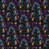 Floral seamless fairy pattern.Exotic flowers, leaves and fruits.Dark indigo blue contour thin drawing. Stock Photo
