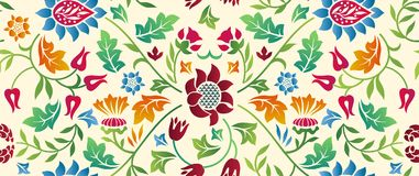 Floral seamless horizontal pattern on light background. Vector illustration. stock photography
