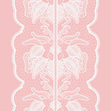 Floral seamless lace ribbon on pink background. Design for invitations and greeting cards. Royalty Free Stock Image