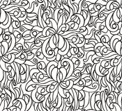 Floral seamless line vector wallpaper. Seamless wallpaper with chrysanthemum flowers vector line drawing royalty free illustration