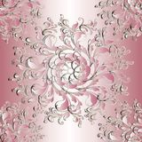 Floral seamless mandala pattern. Light pink  background wallpape. R illustration with vintage 3d flowers, swirl leaves and beautiful flourish damask ornaments Royalty Free Stock Image