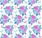 Floral seamless ornament with pink and blue flowers and butterflies. Decorative ornament backdrop for fabric, textile Stock Images