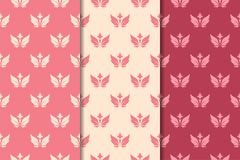 Floral seamless ornaments. Cherry red vertical backgrounds Royalty Free Stock Image