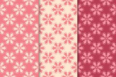 Floral seamless ornaments. Cherry red vertical backgrounds Stock Photos