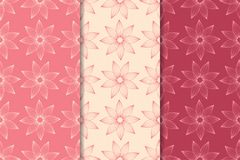 Floral seamless ornaments. Cherry red vertical backgrounds. Set of floral ornaments. Cherry red vertical seamless patterns. Wallpaper backgrounds Stock Photography