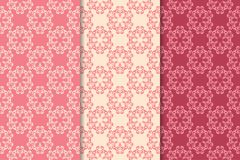 Floral seamless ornaments. Cherry red vertical backgrounds. Set of floral ornaments. Cherry red vertical seamless patterns. Wallpaper backgrounds Royalty Free Stock Photos