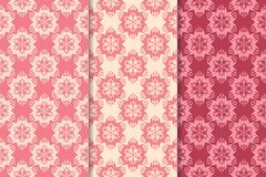 Floral seamless ornaments. Cherry red vertical backgrounds. Set of floral ornaments. Cherry red vertical seamless patterns. Wallpaper backgrounds Royalty Free Stock Images