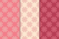 Floral seamless ornaments. Cherry red vertical backgrounds. Set of floral ornaments. Cherry red vertical seamless patterns. Wallpaper backgrounds Stock Images