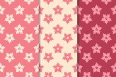 Floral seamless ornaments. Cherry red vertical backgrounds. Set of floral ornaments. Cherry red vertical seamless patterns. Wallpaper backgrounds vector illustration