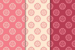 Floral seamless ornaments. Cherry red vertical backgrounds. Set of floral ornaments. Cherry red vertical seamless patterns. Wallpaper backgrounds Royalty Free Stock Image