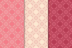 Floral seamless ornaments. Cherry red vertical backgrounds. Set of floral ornaments. Cherry red vertical seamless patterns. Wallpaper backgrounds Royalty Free Stock Photo