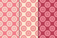 Floral seamless ornaments. Cherry red vertical backgrounds. Set of floral ornaments. Cherry red vertical seamless patterns. Wallpaper backgrounds stock illustration