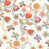 Floral seamless ornate pattern with tulips royalty free illustration